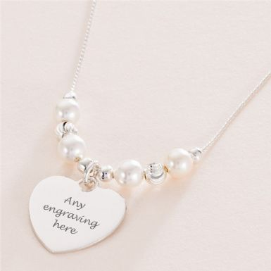 Pearl & Silver Engraved Heart Memorial Necklace | Someone Remembered